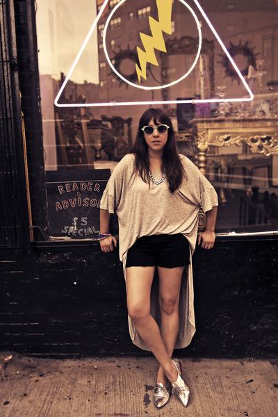 asymmetrical asos shirt - metallic Zara flats