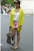 neon green Gap cardigan - gingham JCrew shorts - leather Zara flats