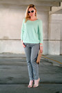 Aquamarine-h-m-sweater-dark-gray-h-m-pants-neutral-aldo-heels