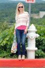 Navy-hollister-jeans-tan-roxy-sweater-hot-pink-express-top-beige-heels