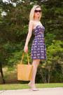 Blue-bebop-dress-bronze-tote-ripani-bag-beige-glam-open-toe-aldo-heels