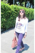 white Terranova jacket - purple Calliope jeans - white Terranova top