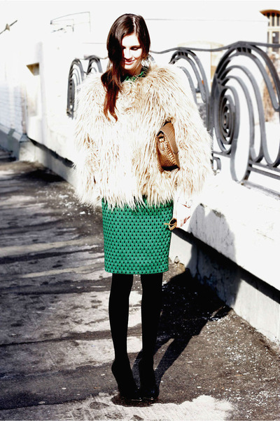 H&M skirt - fur Zara coat - Celine bag - vintage sunglasses