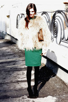 H&M skirt - fur Zara coat - Celine bag - vintage sunglasses