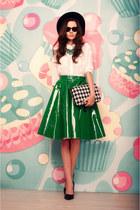 dark green leather choiescom skirt - black wool OASAP hat