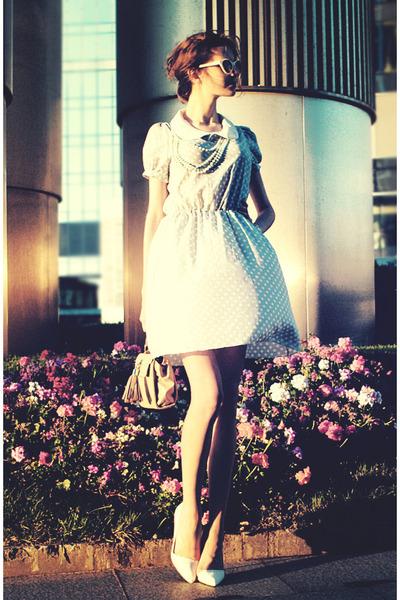 sky blue Friends Shop dress - white Zara heels