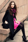 Hot-pink-stylemoi-dress-black-vintage-bag