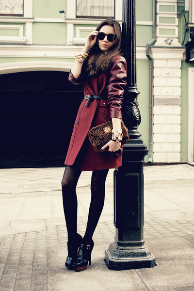 black Marni heels - brick red with leather Sheinside coat