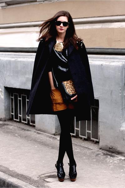 gray Marni coat - black Calzedonia tights - mustard Zara bag