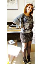 black boots - black safety pin skirt - silver blouse - black stockings