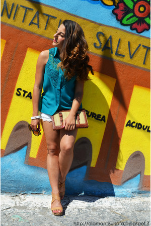 teal PERSUNMALL shirt - dark brown silvian heach bag - ivory Romwecom shorts