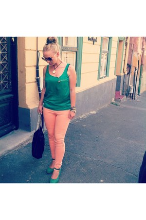 green Zara shirt - light orange Zara pants - Marc Jacobs accessories