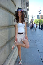 pink Topshop shorts - white Ling top - silver JCrew cardigan - white Aldo Shoes