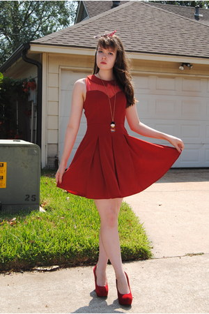 red dress - red wedges