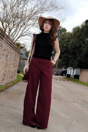 brick red flare DIY pants - camel Jessica Simpson hat - crimson fringe bag