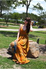Burnt-orange-maxi-dress-handmade-dress-tan-target-hat