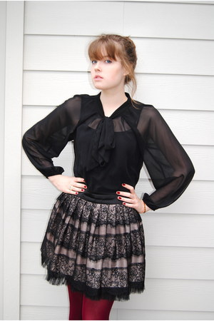 ruby red We Love Colors tights - black lace skirt - black sheer top