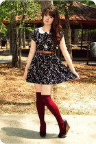 black dress - ruby red socks - black wedges