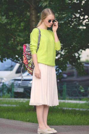 cream asos skirt - black asos bag - chartreuse romwe jumper
