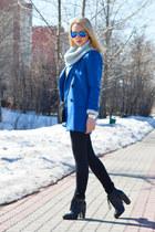 blue Sheinside coat - black Kurt Geiger boots - black versace jeans