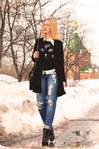 black VJ Style coat - sky blue asos jeans - black Sheinside sweater