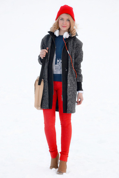 white Jabra accessories - dark gray asos coat - red American Apparel jeans