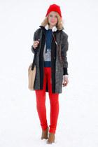 white Jabra accessories - dark gray asos coat - red American Apparel jeans