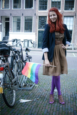 purple Accessorize tights - light brown Zara dress - navy Zara blazer