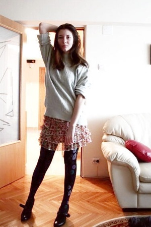 sweater - Pull &amp; Bear skirt - tights - REPLAY shoes