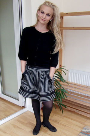 black Inwear cardigan - gray Zara skirt - gray Zara shoes - silver Accessorize e