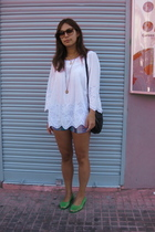 mozaic top - carrefour shoes - gift from sis shorts