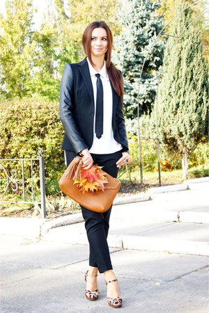 leather brown Zara bag - ivory Mango blouse - Monton tie