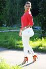 Silk-victorias-secret-blouse-white-skinny-zara-pants-zara-sandals