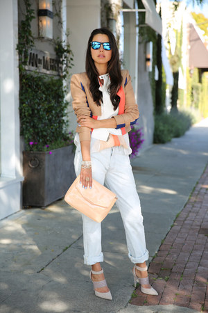 coral BCBG jacket - periwinkle Levis 501 jeans - peach Zara bag
