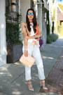 Periwinkle-levis-501-jeans-coral-bcbg-jacket-peach-zara-bag
