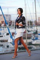white cameo skirt - navy dvf jacket - sky blue Alice and Olivia bag