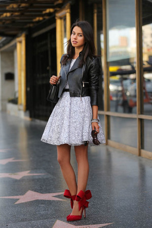 black old jacket - white Alice and Olivia dress - red Aminah Abdul Jillil heels