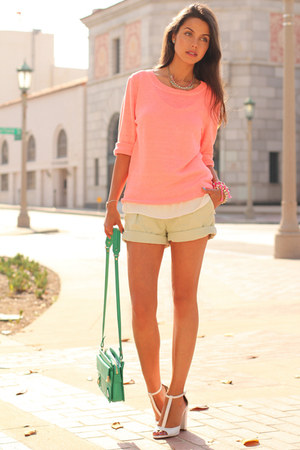 turquoise blue Rebecca Minkoff bag - peach J Crew sweater