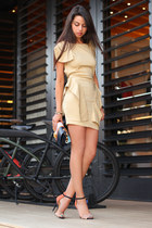 orange Zara sandals - nude Shopakiracom dress - navy urbanoutfitterscom bag