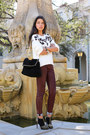 Black-sergio-rossi-boots-maroon-true-religion-jeans-white-sandro-sweater