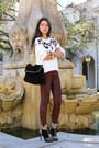 Black-sergio-rossi-boots-maroon-true-religion-jeans-white-sandro-sweater