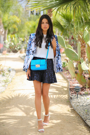 blue Bebe blazer - turquoise blue asos bag - white Zara top - navy asos skirt