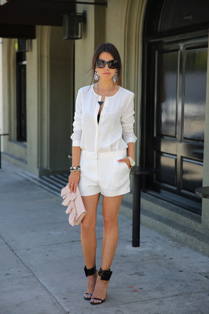 light pink RED valentino bag - white J Brand romper - black Gucci heels