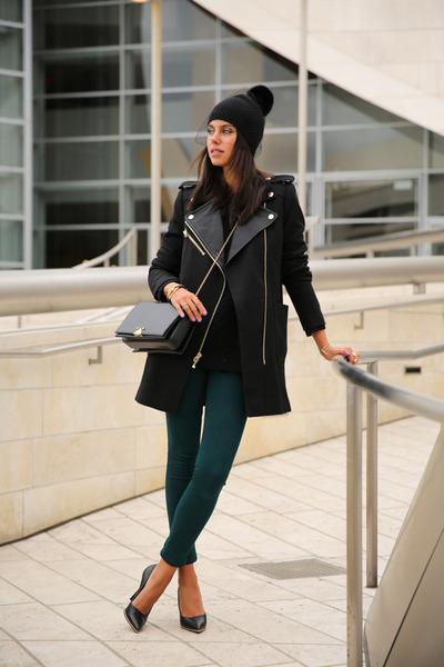 black Juicy Couture coat - teal Black Orchid jeans - black BCBG hat