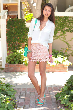 light pink GoodNight Macaroon skirt - turquoise blue Rebecca Minkoff bag