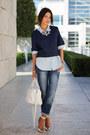 Navy-gap-jeans-white-saint-laurent-bag-periwinkle-gap-blouse