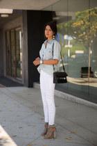 white J Brand jeans - periwinkle Club Monaco shirt - black PROENZA SCHOULER bag