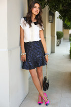 navy asos skirt - black Rebecca Minkoff bag - hot pink J Crew heels