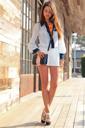 light blue Raecollectionscom blouse - navy Urban Outfitters bag
