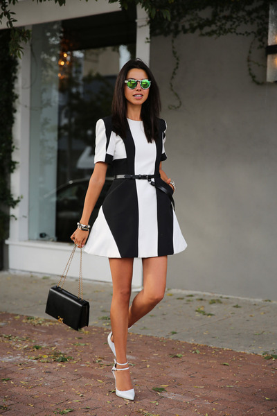 black Finders Keepers dress - black armani bag - green Illesteva sunglasses